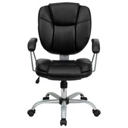 Pemberly Row Mid Back Leather Task and Computer Office Chair in Black
