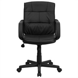 Pemberly Row Mid Back Office Chair in Black with Arms