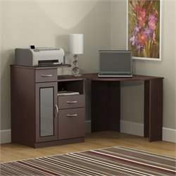 Pemberly Row Corner Home Office Computer Desk in Harvest Cherry