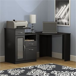 Pemberly Row Corner Home Office Computer Desk in Black