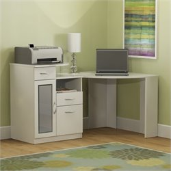 Pemberly Row Corner Home Office Computer Desk in Pure White