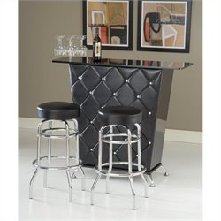 Pemberly Row Vinyl and Crystal Studs Home Bar in Black