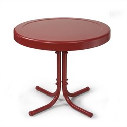 Pemberly Row Retro Metal Table in Coral Red