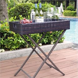 Pemberly Row Outdoor Wicker Butler Tray