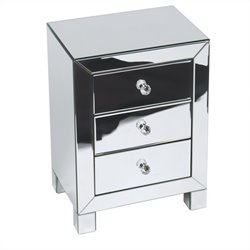 Pemberly Row Accent Table in Silver Mirror Finish