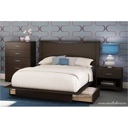 Pemberly Row Full Queen Platform Bed with 2 drawers in Chocolate