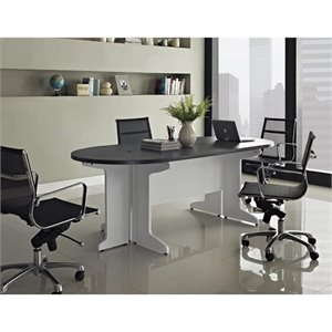 Pemberly Row Small Conference Table in White and Gray