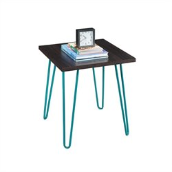 Pemberly Row End Table Espresso Finish with Teal Metal Legs