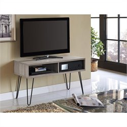 Pemberly Row Retro 42 Inch TV Stand in Sonoma Oak and Gunmetal Gray