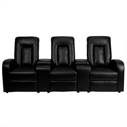 Pemberly Row 3 Seat Home Theater Recliner in Black