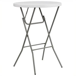 Pemberly Row Round Granite Bar Height Folding Table in White