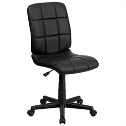Pemberly Row Mid Back Quilted Task Office Chair in Black