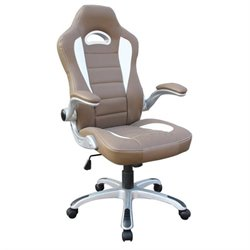 Pemberly Row Sport Race Executive Office Chair in Camel