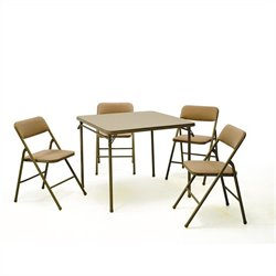 Pemberly Row 5 Piece Vinyl Folding Table Set in Wheat
