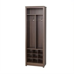 Pemberly Row Space-Saving Entryway Organizer with Shoe Storage in Espresso