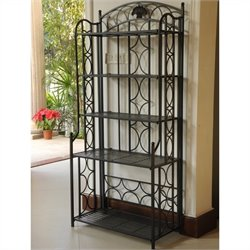 Pemberly Row Iron 5-Tier Bakers Rack in Black