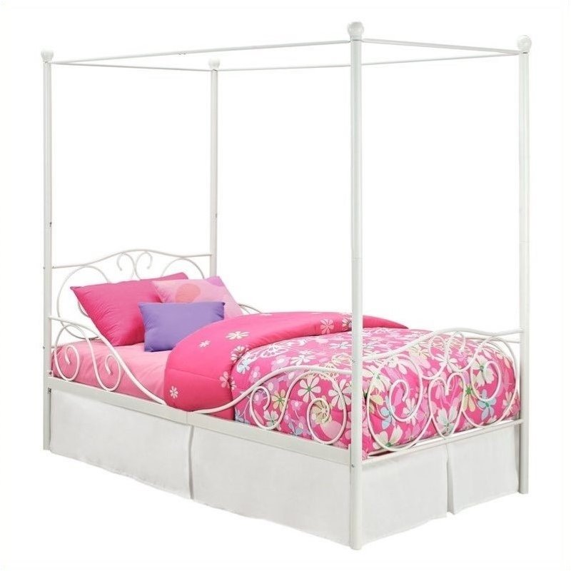Pemberly Row Metal Twin Canopy Bed In White Pr 493901