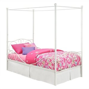 Pemberly Row Metal Twin Canopy Bed in White