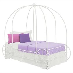 Pemberly Row Metal Twin Carriage Bed in White