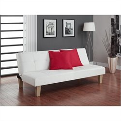 Pemberly Row Faux Leather Convertible Sofa in White