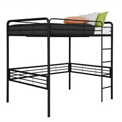 Pemberly Row Metal Full Loft Bed in Black