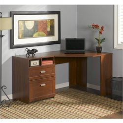 Pemberly Row Reversible Corner Desk in Hansen Cherry