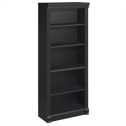 Pemberly Row 5-Shelf Bookcase in Antique Black