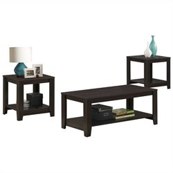 Pemberly Row 3 Piece Coffee Table Set in Cappuccino
