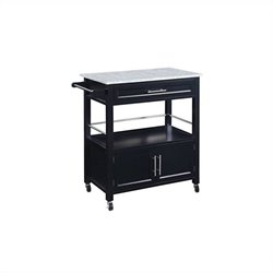 Pemberly Row Kitchen Cart with Granite Top in Black