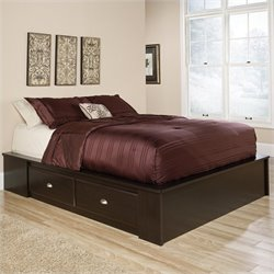 Pemberly Row Queen Platform Bed in Jamocha Wood