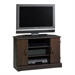 Pemberly Row Corner TV Stand in Cinnamon Cherry