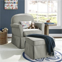 Pemberly Row Swivel Glider and Ottoman Set in Light Gray