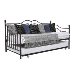 Pemberly Row Metal Twin Daybed with Twin Trundle in Bronze