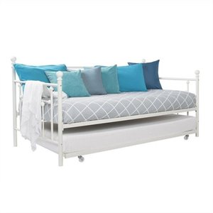 Pemberly Row Metal Twin Daybed with Trundle in White