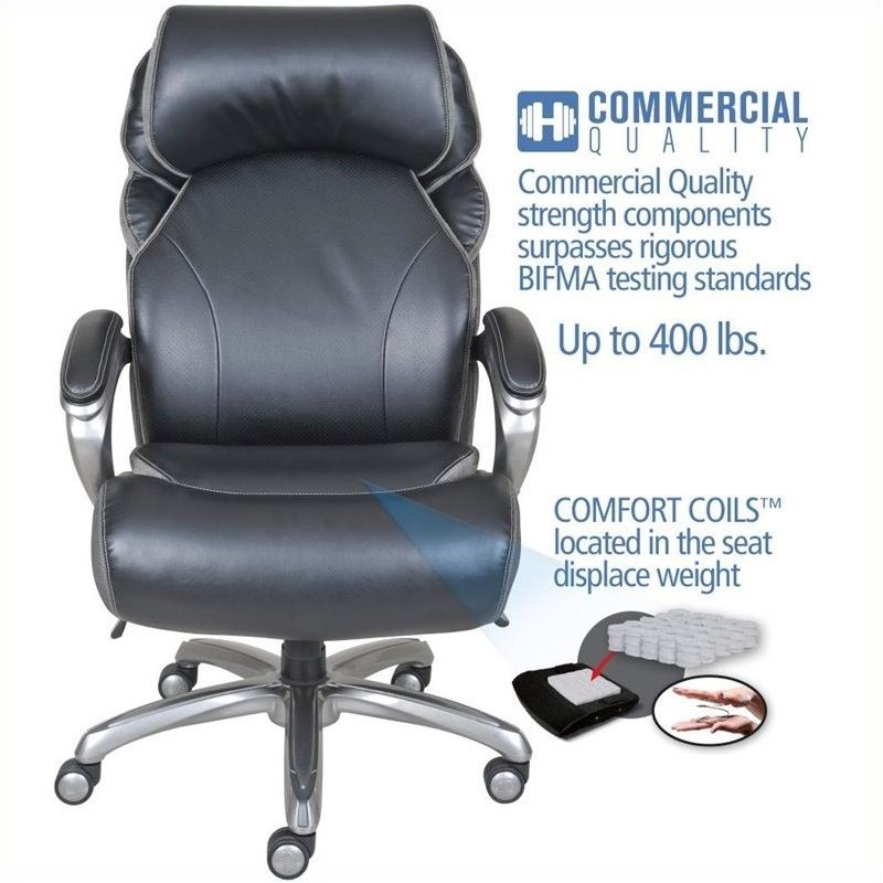 Pemberly Row Executive Office Chair in Multi-Tone Bliss Black