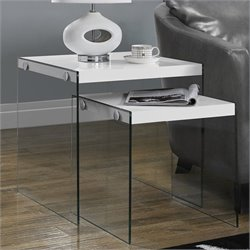 Pemberly Row 2 Piece Nesting Table Set in Glossy White