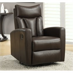 Pemberly Row Padded Back Swivel Glider Leather Recliner in Dark Brown
