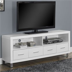 Pemberly Row TV Console in White with Drawers