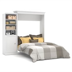Pemberly Row 92'' Queen Wall Bed with Door Storage Unit in White
