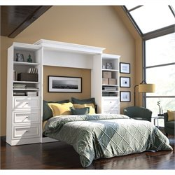 Pemberly Row 115'' Queen Wall Bed with 2 Piece 6 Drawer Storage Unit in White
