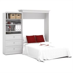 Pemberly Row 101'' Queen Wall Bed with 3-Drawer Storage Unit White