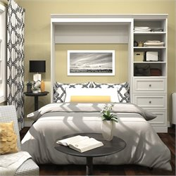 Pemberly Row 84'' Full Wall Bed with 3-Drawer Storage Unit in White