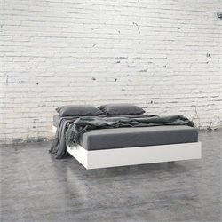 Pemberly Row  Full Size Platform Bed in White and Melamine
