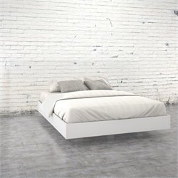 Pemberly Row Queen Size Platform Bed in White and Melamine