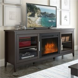 Pemberly Row Fireplace TV Bench in Espresso