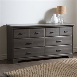Pemberly Row 6-Drawer Double Dresser in Gray Maple