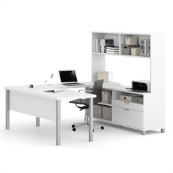 Pemberly Row U Shaped Computer Desk with Hutch in White