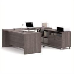 Pemberly Row U Shaped Computer Desk in Bark Grey