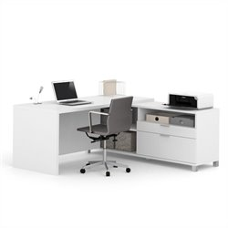 Pemberly Row L-Desk in White