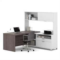 Pemberly Row L-Desk with Hutch in White and Bark Grey